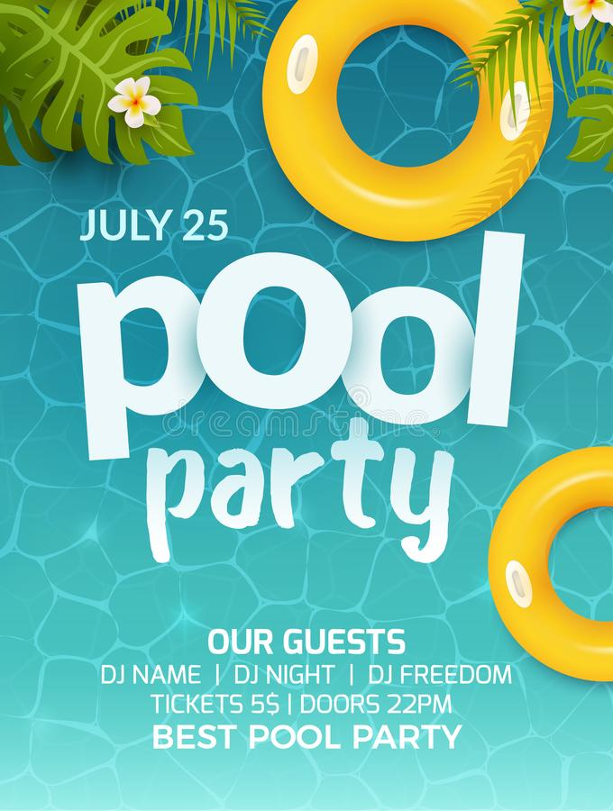 Pool summer party invitation banner flyer design. Water and palm inflatable yellow mattress. Pool party template poster.  stock illustration