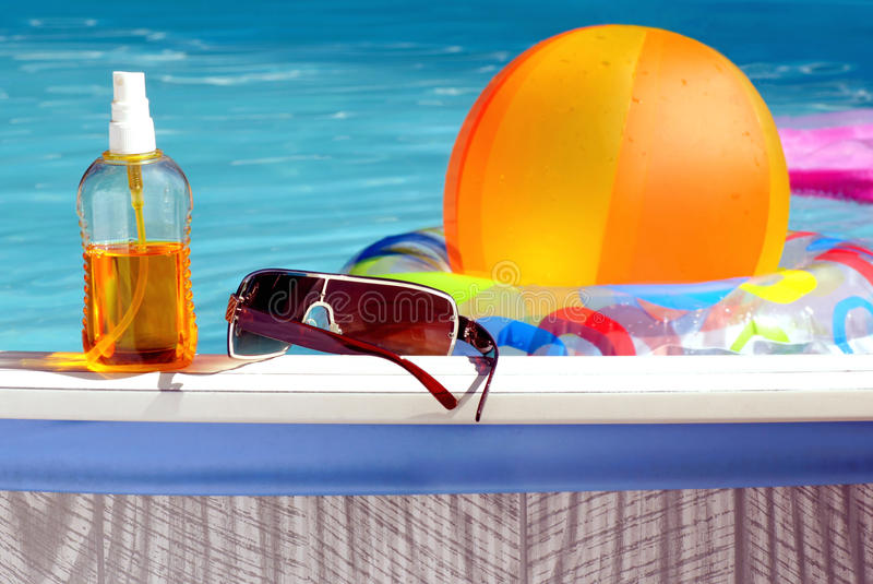 At the pool. stock image