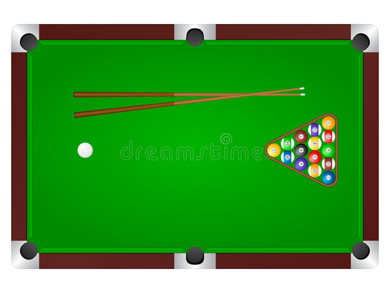 Pool table. With balls and cue. Vector illustration vector illustration