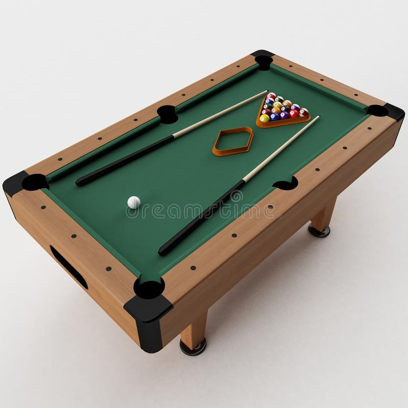 Pool Table. 3d rendering of a Pool Table royalty free illustration
