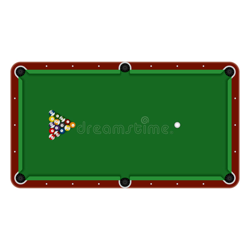 Pool table. Detailed vector illustration of a pool table with balls vector illustration