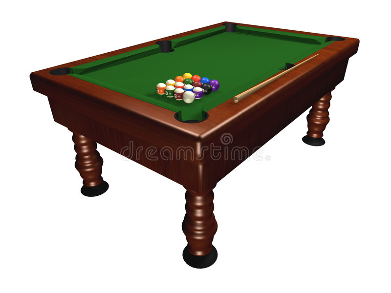 Pool table. Isolated on white background - 3d render stock illustration