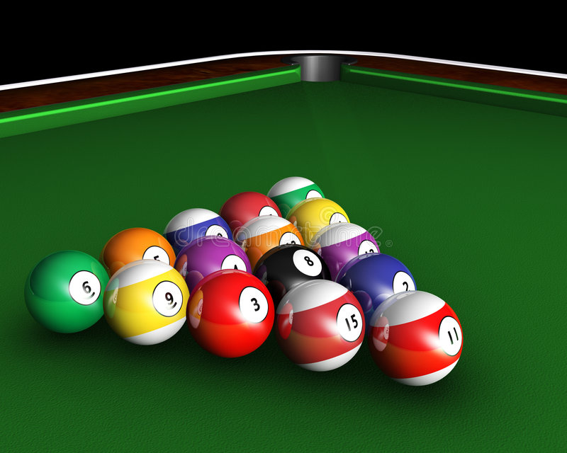 Pool table. 3D render of pool balls on a pool table vector illustration