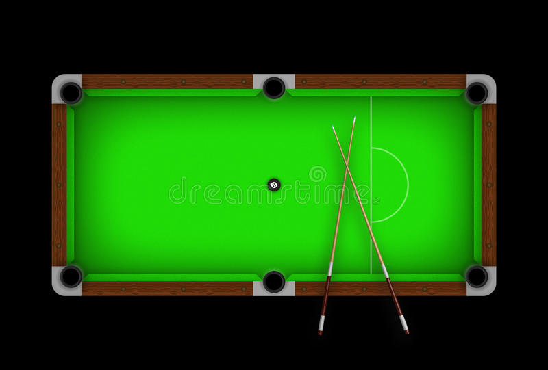 Pool table. Green pool table with ball 8 in the middle vector illustration