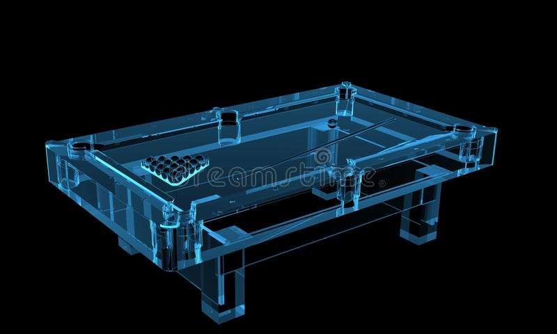 Pool table 3D rendered xray blue. Transparent vector illustration