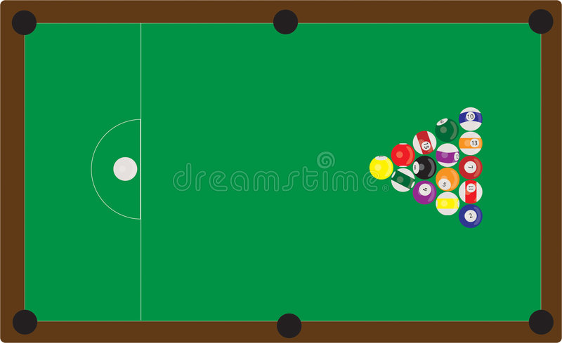 Pool Table. Scalable vector image of balls on a pool table royalty free illustration