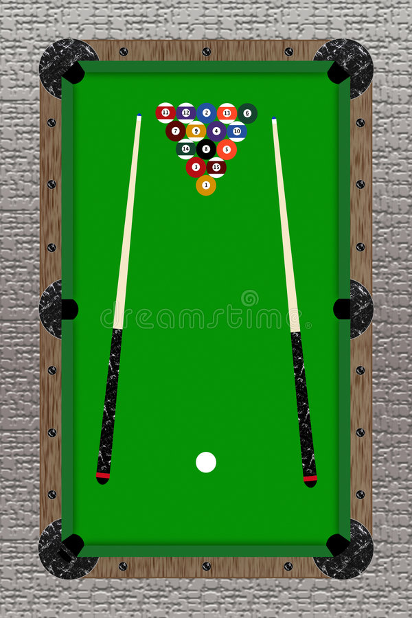 Pool Table. Illustration of the top of pool table on a stone floor royalty free illustration