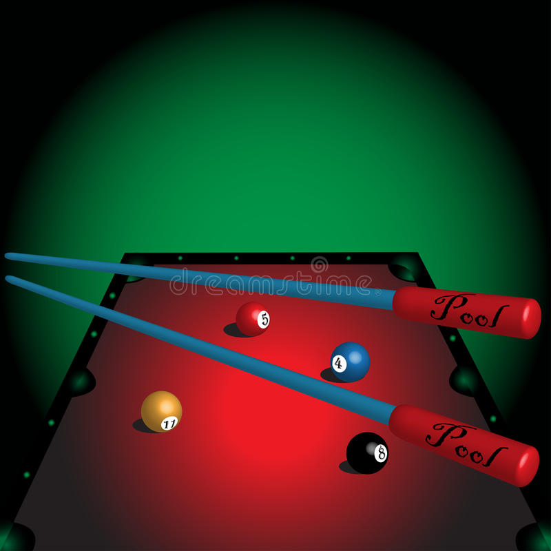 Pool table. Colorful illustration with pool table, colored balls and two pool cues vector illustration