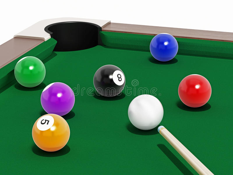 Pool table. 8 ball pool table with balls and cue stock illustration
