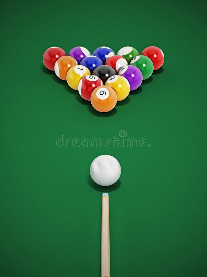 Pool table. 8 ball pool table with balls and cue vector illustration