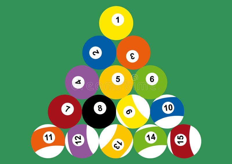 Pool table: ball triangle. Illustration of the balls of a pool table at the start of the game vector illustration