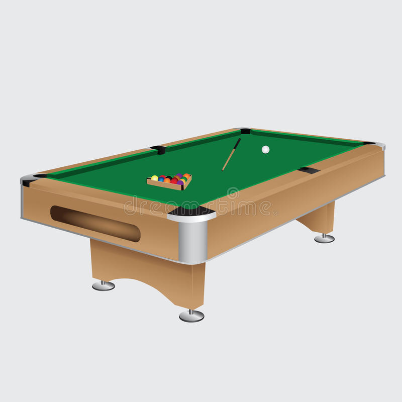 Pool table with balls. And cue. Vector illustration stock illustration