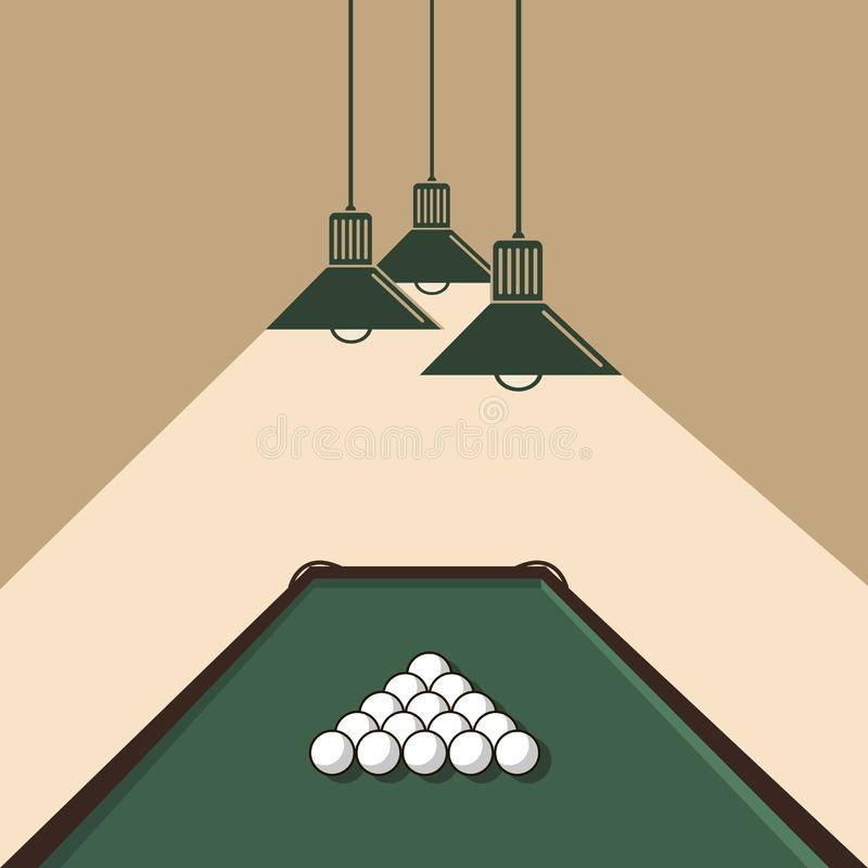 Pool table with balls. Illustration of pool table with billiard balls and ceiling lamps vector illustration