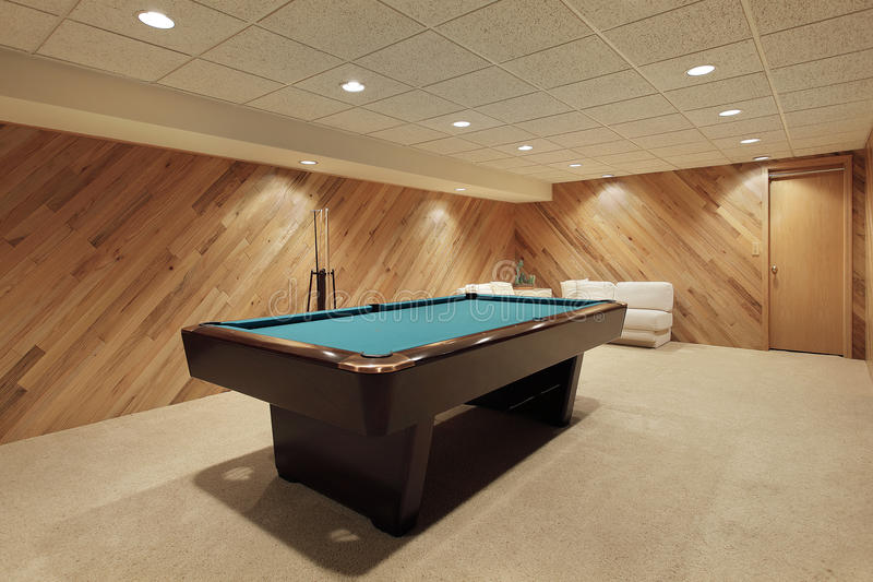 Pool table in basement