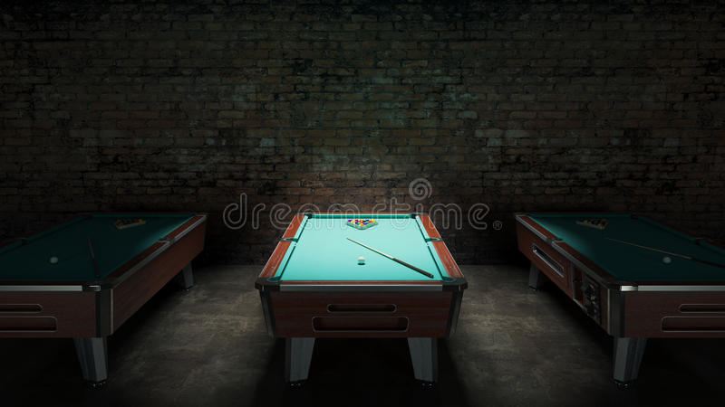 Pool table with brick wall. Design made in 3D vector illustration