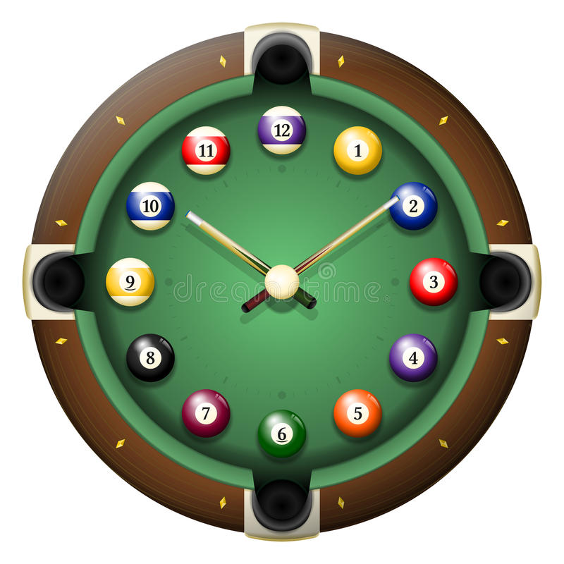 Pool table clock vector. All elements sorted and grouped in layers vector illustration