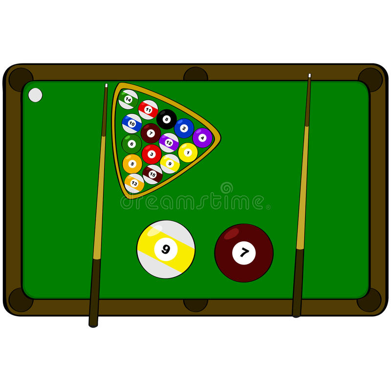 Pool table. Concept illustration showing a pool table with the word pool made up by components of the game stock illustration