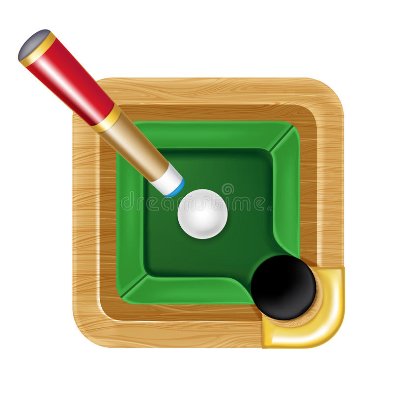 Pool table icon with white ball and cue. Isolated royalty free illustration