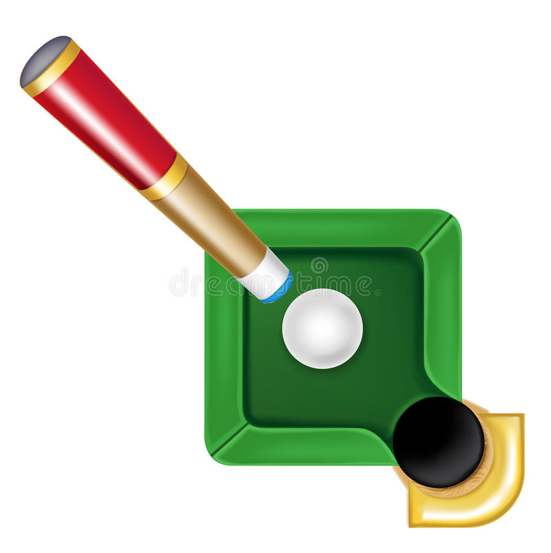 Pool table icon with white ball and cue isolated. On white royalty free illustration