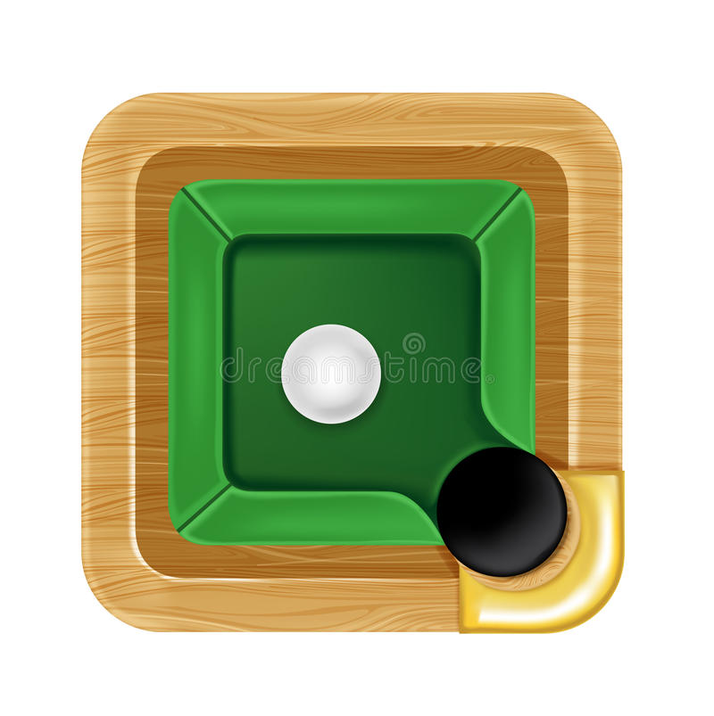 Pool table icon with white ball isolated. On white royalty free illustration