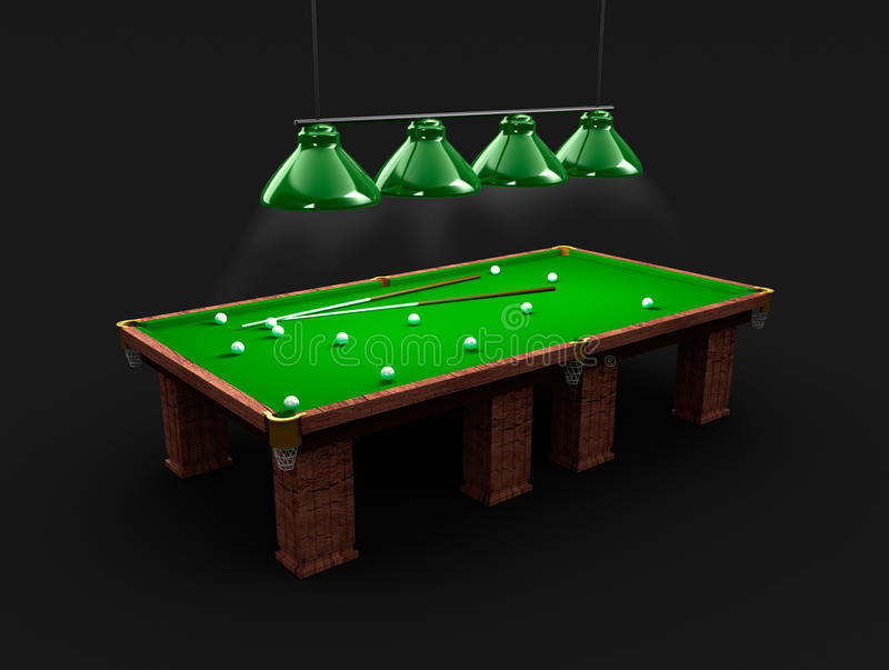 Pool table with light, billiard balls and cues. 3d background royalty free illustration