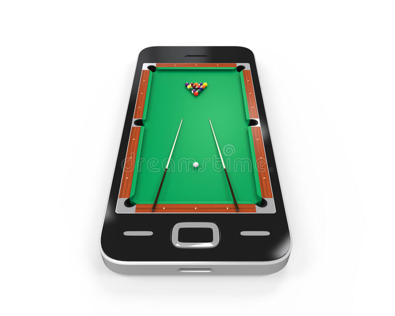 Pool Table in Mobile Phone. Isolated on white background. 3D render royalty free illustration