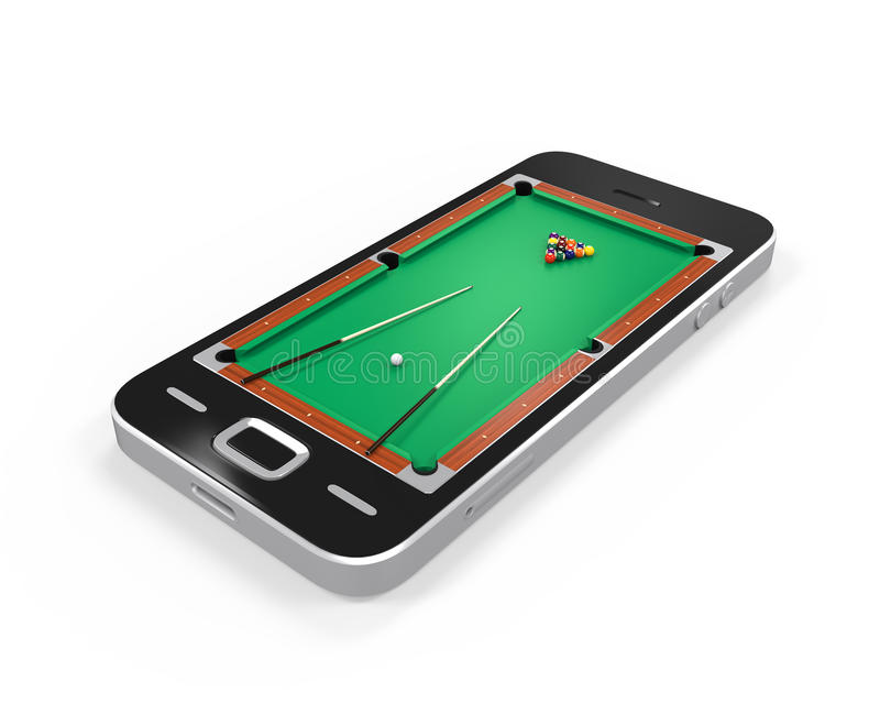 Pool Table in Mobile Phone. Isolated on white background. 3D render vector illustration