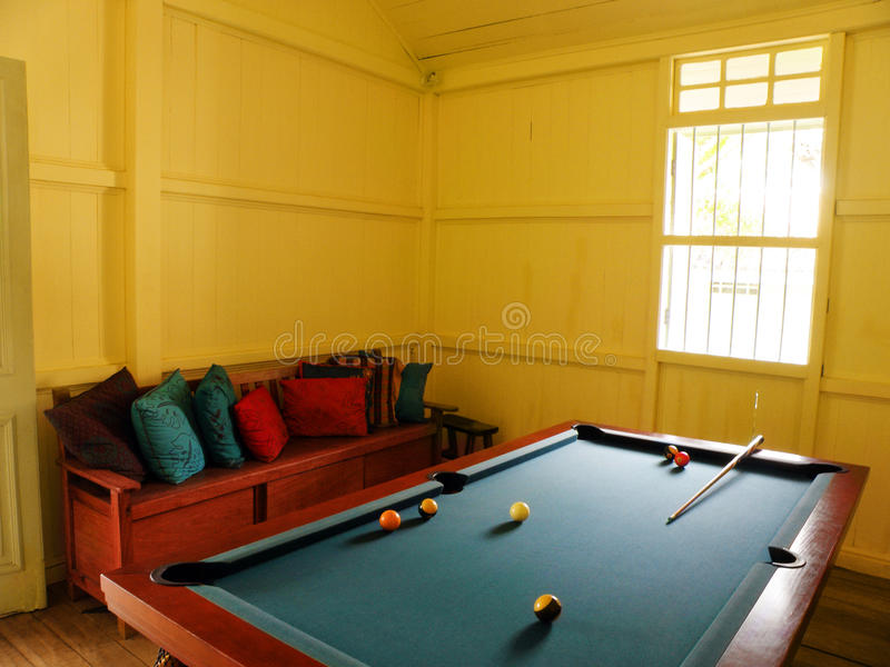 Pool table, natural lighting in tropical resort royalty free stock photo