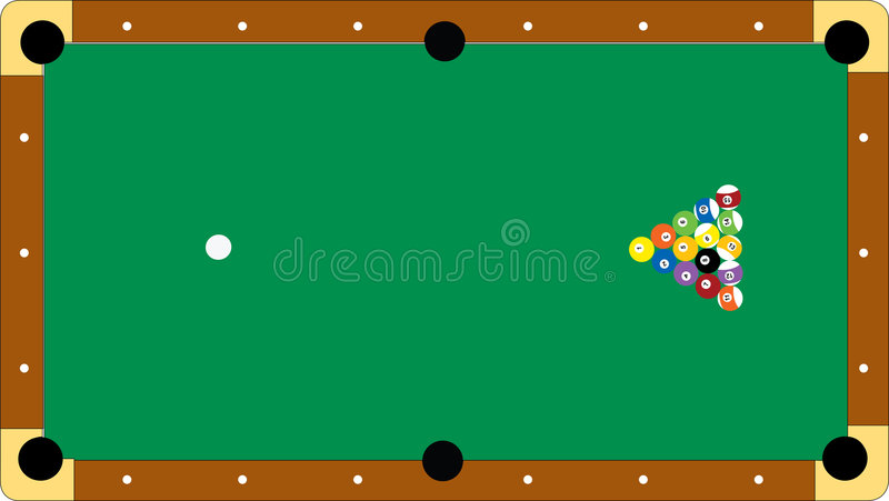Pool table: ready for the shot. Illustration of a pool table at the start of the game royalty free illustration