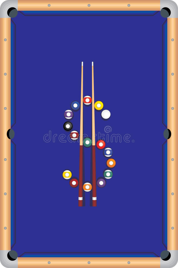 Pool table s. Pool table illustration with balls and sticks vector illustration