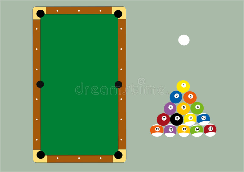 Pool table and triangle balls. Illustration of a professional pool table and the triangle balls royalty free illustration