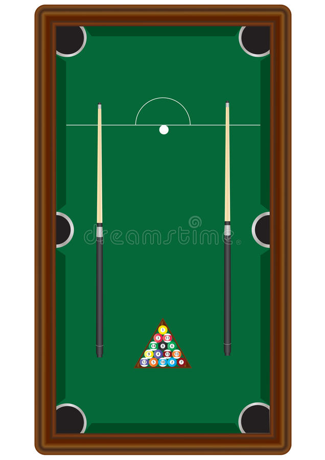 Pool Table. A Pool Table with two cues,cueball, and balls in a rack vector illustration