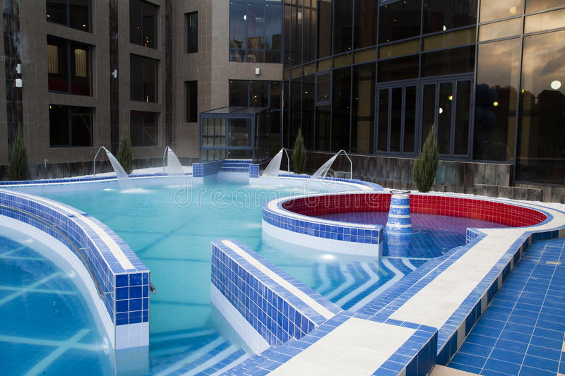 Pool with thermal water stock image
