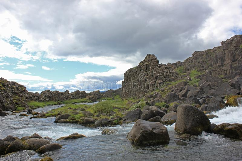 Pool at the thingvellir national park in iceland stock images