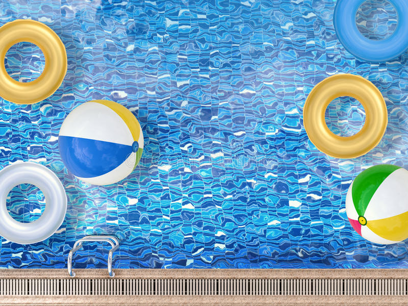 Pool with toys stock illustration