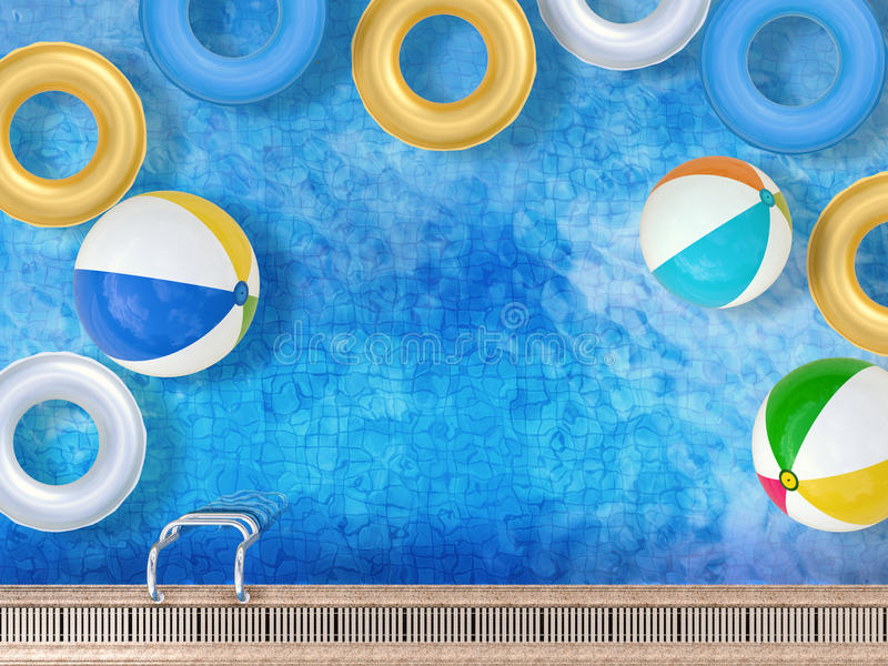 Pool with toys royalty free illustration