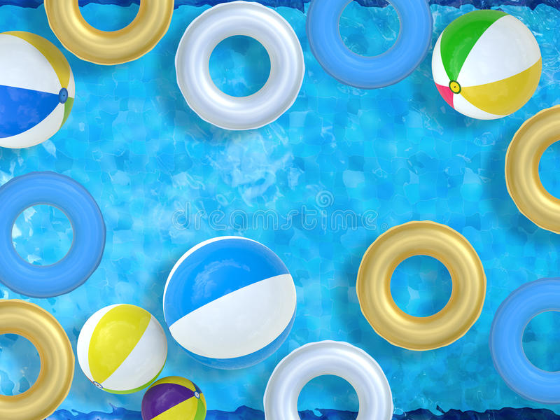 Pool with toys vector illustration