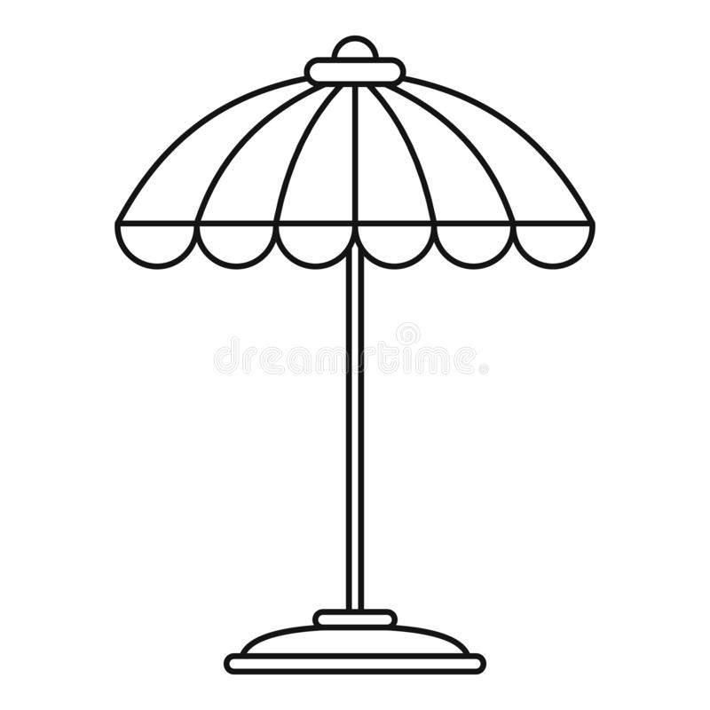 Pool umbrella icon, outline style vector illustration