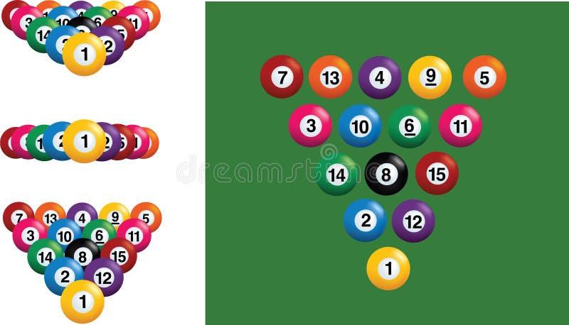 Pool- und Billiardkugeln stock abbildung