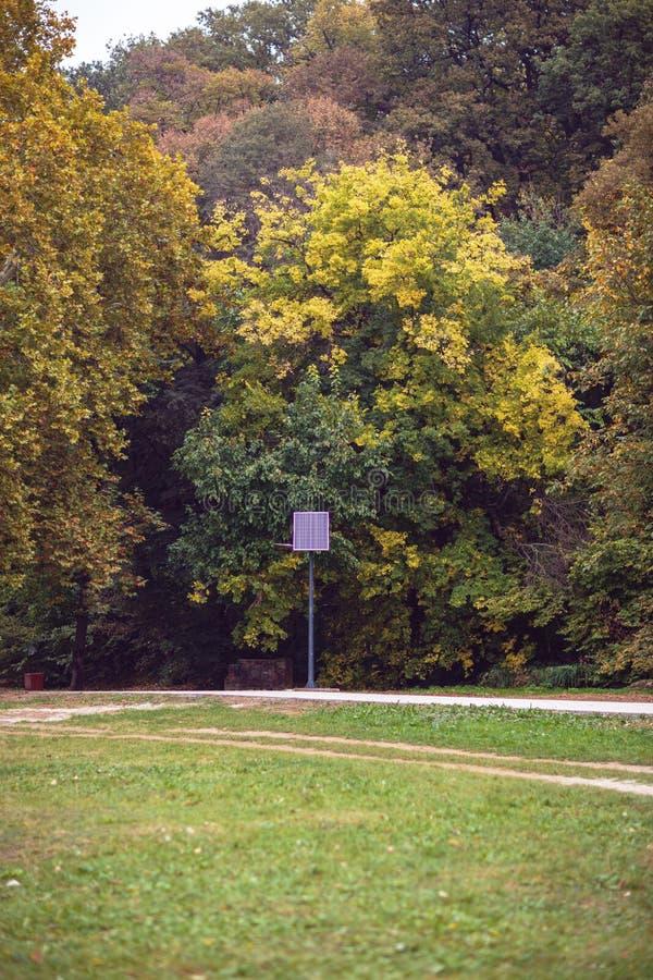 Pool van de park de openbare verlichting met photovoltaic paneel royalty-vrije stock afbeelding