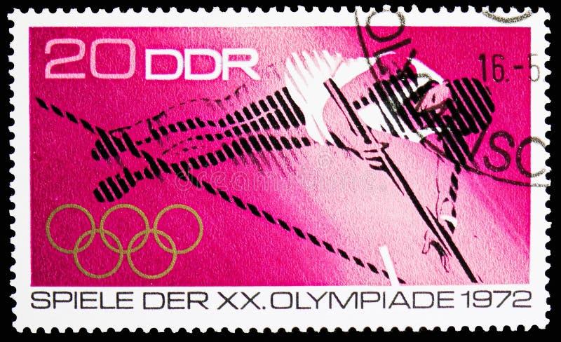 Pool vaulter, de Zomerolympics 1972, München serie, circa 1972 royalty-vrije stock fotografie