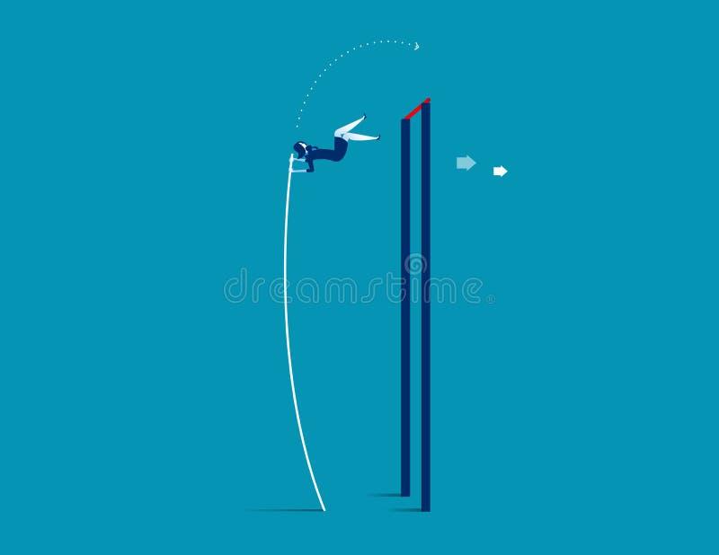 Pool Vaulter Zaken die over het toenemen springt Conceptenzaken royalty-vrije illustratie