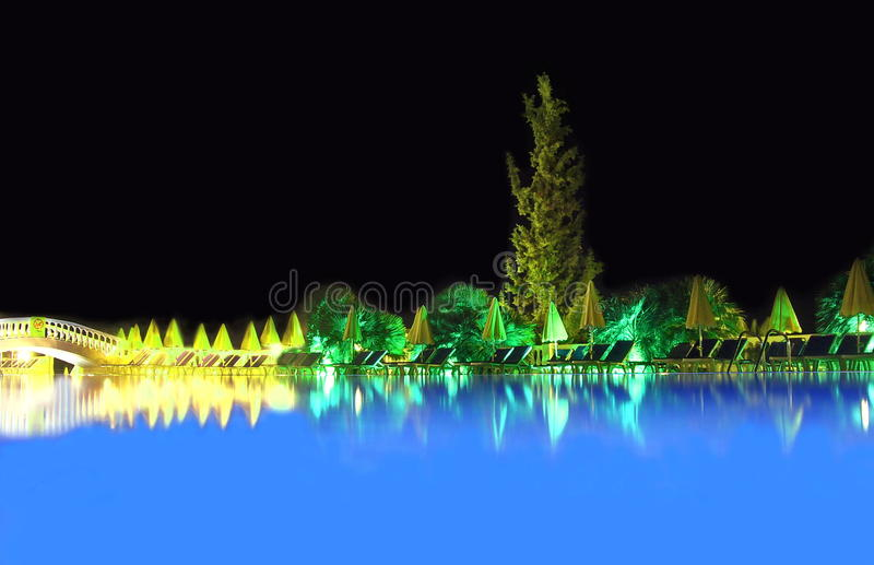 Pool view at night royalty free stock photography