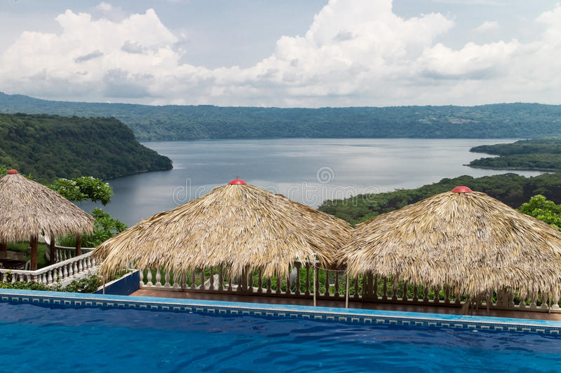 Pool with views in masaya lagoon, Nicaragua. Pool with views in masaya lagoon from Nicaragua stock images