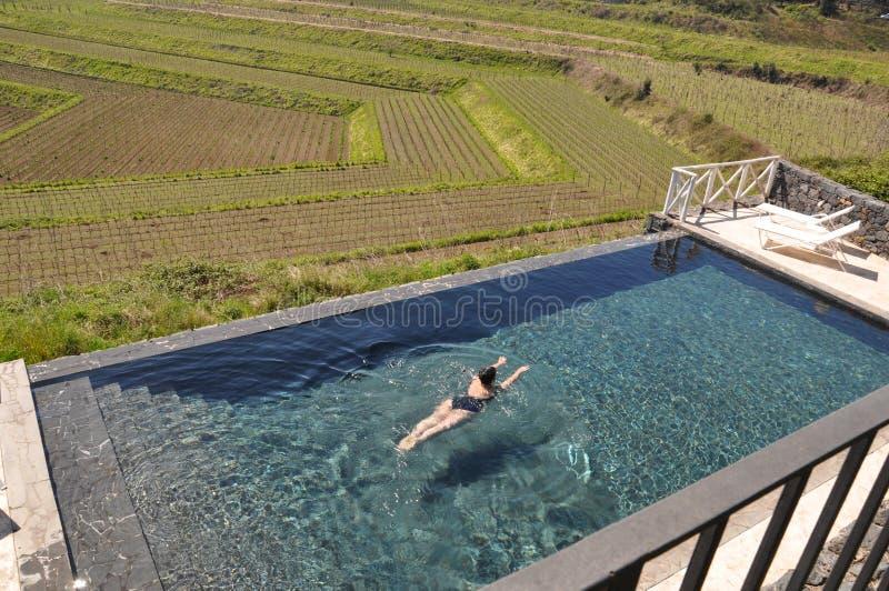 Pool in the vineyards in Etna Sicily stock photos