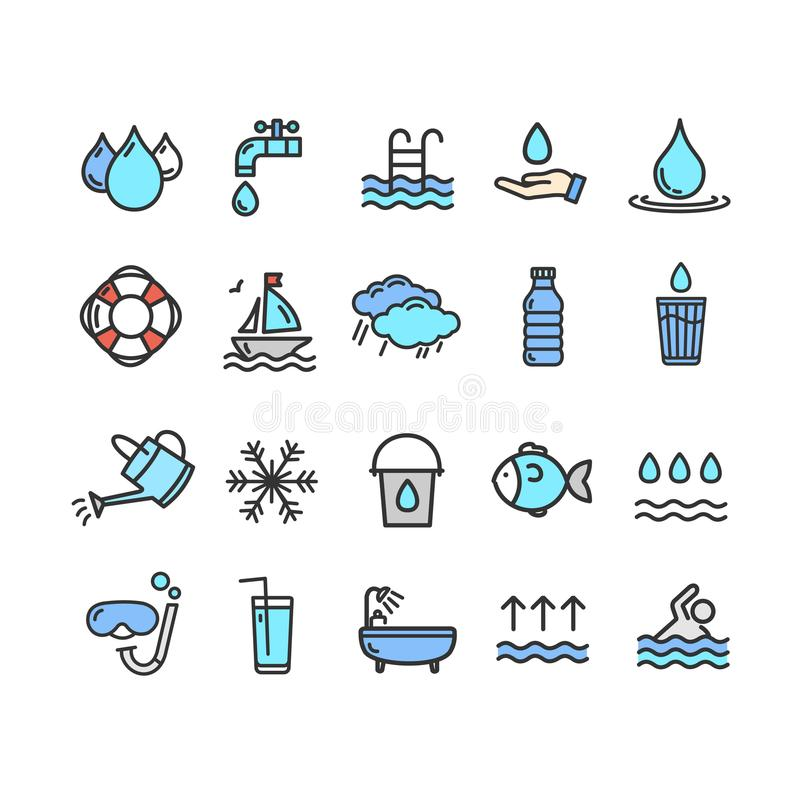 Pool and Water Signs Color Thin Line Icon Set. Vector stock illustration