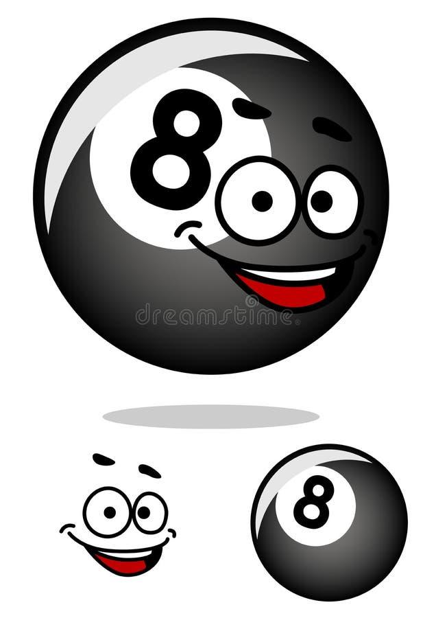 Poolball Cartooned acht mit glücklichem Gesicht stock abbildung