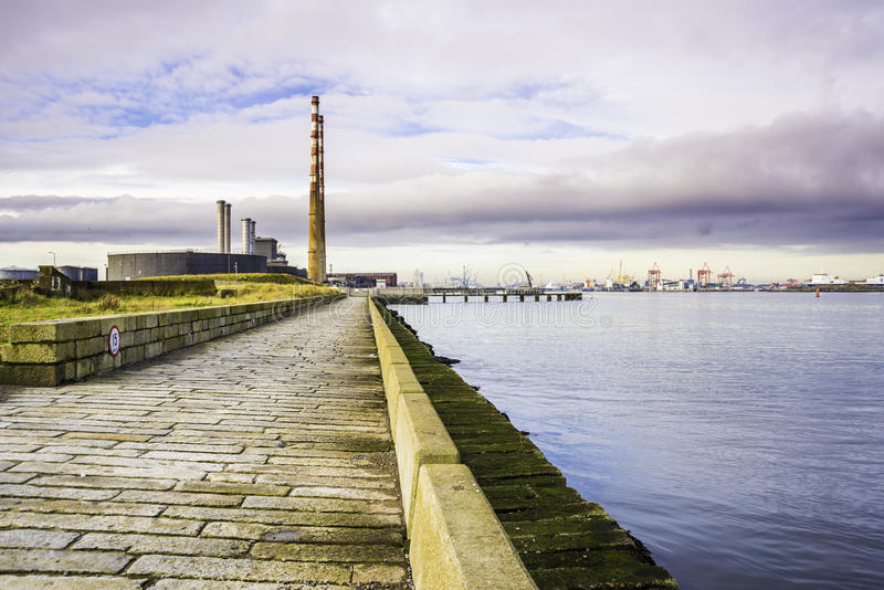 Poolbeg Generating Station and Dublin Port royalty free stock photography