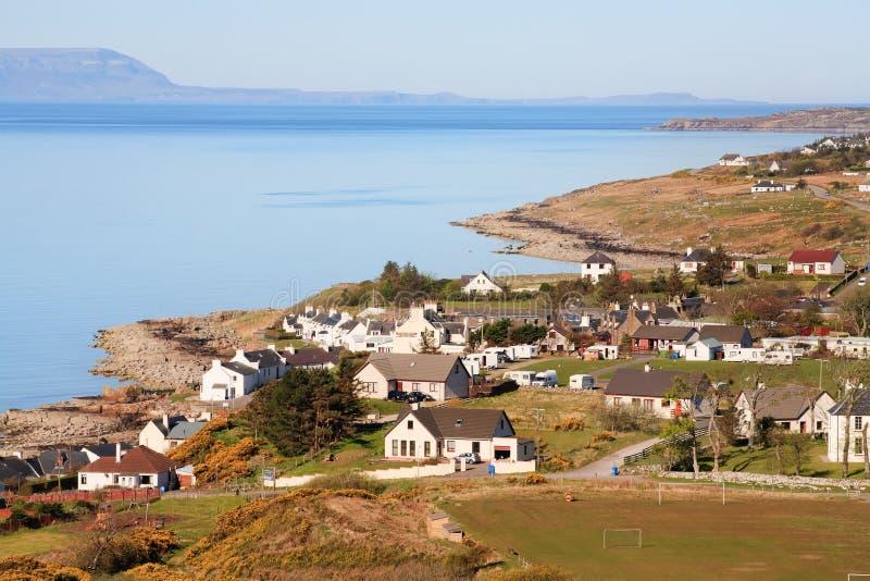 Poolewe村庄,苏格兰看法  库存照片
