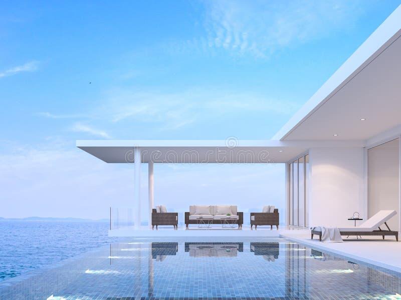Poollandhauswohnzimmer mit Seeansicht 3d übertragen stock abbildung